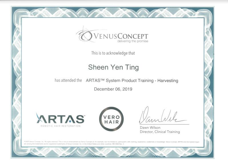 Artas原廠機器人取髮認證證書-高雄植髮醫師沈彥廷